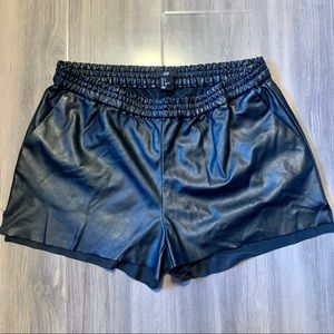 ⚡️Sale⚡️Black Leather Track Shorts by H&M (Size S)